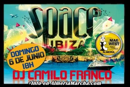 Fiesta Space Ibiza con Camilo Franco en Mae West Almería